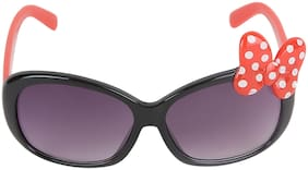 Amour Blue & Red Bow Applique Full Framed Rectangular Sunglasses with Purple Gradient Lens for Girls