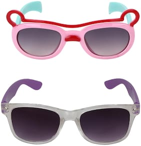 Amour Full Framed Pack of 2 Cat-Eye Sunglasses & Retro Square Sunglasses with Gradient Lenses Full Kids with Free Protective Hard Case