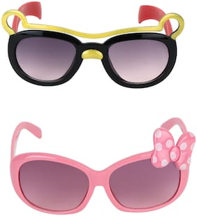 Amour Full Framed Pack of 2 Cat-Eye Sunglasses & Oval Sunglasses with Gradient Lenses Full Kids with Free Protective Hard Case