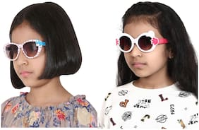 Amour Full Framed Pack of 2 Cat-Eye Sunglasses & Oval Sunglasses with Purple Gradient Lenses for Girls (5+ Years) with Free Protective Hard Case