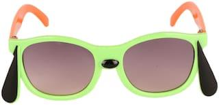Amour Light Green & Black Full-Framed Unisex Rectangular Sunglasses with Purple Gradient Lens (4+ Years)