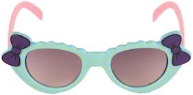 Amour Light Blue & Purple Full-Framed Cat-Eye Sunglasses with Purple Gradient Lens for Girls (3+ Years)