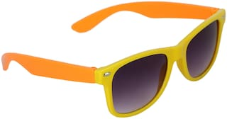 Amour Orange & Yellow Full Frame Wayfarer Sunglasses with Black Lens for Kids with Case