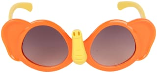 Amour Orange & Yellow Full-Framed Unisex Butterfly Sunglasses with Purple Gradient Lens (3+ Years)