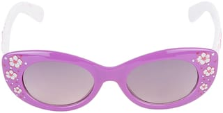 Amour Purple & White Floral Print Full Framed Oval Sunglasses with Grey Gradient Lens for Girls