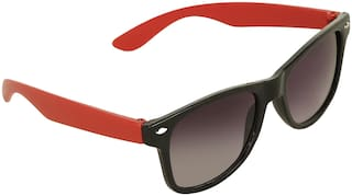 Amour Red & Black Full Frame Wayfarer Sunglasses with Black Lens for Kids with Case
