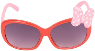 Amour Red & Pink Bow Applique Full Framed Rectangular Sunglasses with Purple Gradient Lens for Girls