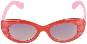 Amour Red & Pink Floral Print Full Framed Oval Sunglasses with Grey Gradient Lens for Girls