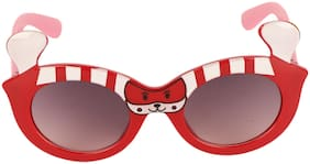 Amour Red & White Full-Framed Oval Sunglasses with Purple Gradient Lens for Girls (5+ Years)