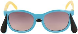 Amour Sky Blue & Black Full-Framed Unisex Rectangular Sunglasses with Purple Gradient Lens (4+ Years)