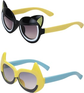 Amour UV Protected Cat Eye & Batman Combo for Kids (4 to 8 Years) Sunglasses - Pack of 2 Black::Yellow