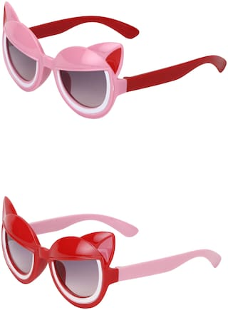Amour UV Protected Cat Eye shaped Combo for Kids (4 to 8 Years) Sunglasses - Pack of 2 Pink::Red
