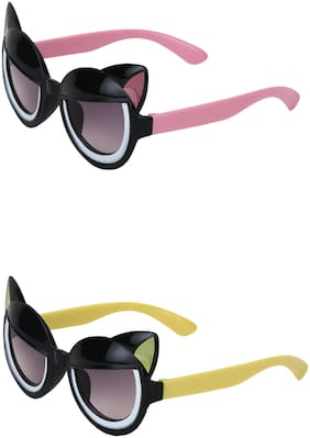 Amour UV Protected Cat Eye shaped Combo for Kids (4 to 8 Years) Sunglasses - Pack of 2 Black::Black