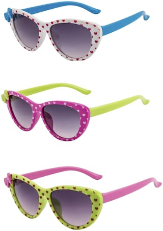 Amour UV Protected Combo for Kids Sunglasses - Pack of 3 White Pink Green
