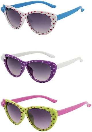 Amour UV Protected Combo for Kids Sunglasses - Pack of 3 White Green Purple