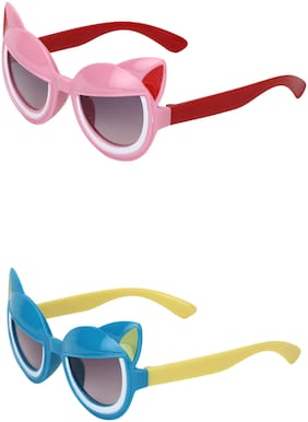 Amour UV Protected Cat Eye shaped Combo for Kids (4 to 8 Years) Sunglasses - Pack of 2 Pink::Blue