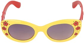 Amour Yellow & Red Floral Print Full Framed Oval Sunglasses with Grey Gradient Lens for Girls