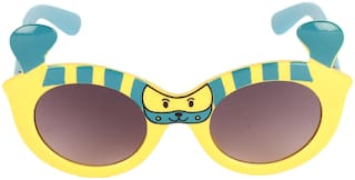Amour Yellow & Turquoise Full-Framed Oval Sunglasses with Purple Gradient Lens for Girls (5+ Years)