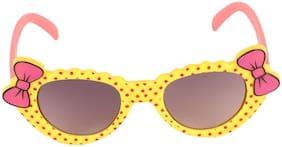 Amour Yellow & Pink Full-Framed Cat-Eye Sunglasses with Purple Gradient Lens for Girls (3+ Years)
