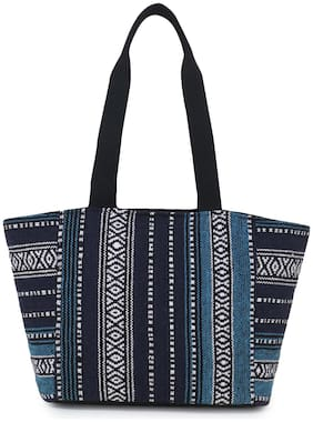 Anekaant Blue Striped Geometric Dari Shoulder Bag