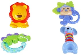 Animal Shaped Rattle toy 4 in 1 Colorful Baby Rattle Toys For New Born Babies