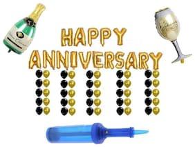 Anniversary Decoration Celeberation Combo of Happy Anniversary Letter Foil Balloons Golden Party Balloons, 50 Party Balloons, Champagne & Cheer Glass Foil Balloon & balloon pump