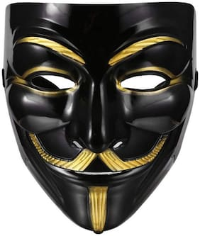 Anonymous VIP Edition Face-Mask Fawkes Mask Perfect Fit Cosplay Protest V for Vendetta DC Comics (Black) Pack of 1