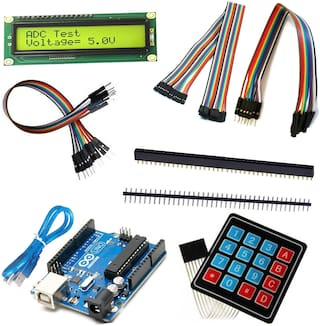 ApTechDeals Arduino UNO Kit For Beginners(Arduino UNO,Jumperwire,16x2  lcd,4x4 keypad,male and female header pin)
