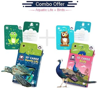 RedChimpz - 5D+ AR VR Aquatic Life & Birds Flash card for Kids | Augmented and Virtual Reality Based Educational Learning Toy | Includes 32 Flashcards | For the Age of 3-8 Yrs | With iOS & Android app