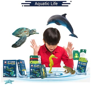RedChimpz - 5D+ AR VR Aquatic Life Flash card for Kids | Augmented and Virtual Reality Based Educational Learning Toy | Includes 16 Flashcards | For the Age of 3-8 Yrs | Comes With iOS & Android app