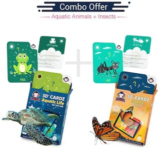 Redchimpz Edcational Games for  kids 5D+ Aquatic Life and Insects for 3 to 8 years of age, Combo of 2- Multicolor
