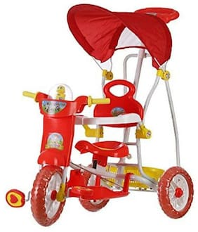 Archana NHR Kids VEGA Musical tricycle with Canopy and Parent Push Handle (Red)