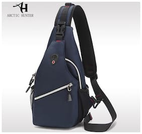 ARCTIC HUNTER Men 's chest bag leisure Messenger bag multi - functional shoulder bag Oxford cloth color Blu