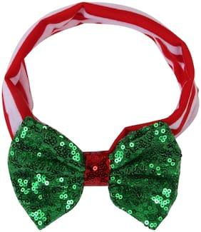 Arendelle Christmas Fabric Baby Headband with Green Bow [AHA192]
