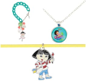 Arendelle Officially Licenced Dora the Explorer Combo of Pendant, Bracelet and Choker in Shades of Yellow and Green with GIFT BOX [DEBOX18]