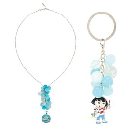 Arendelle Officially Licenced Dora the Explorer Combo of Multiple Bead Pendant and Keychain in Shades of Blue with GIFT BOX [DEBOX10]