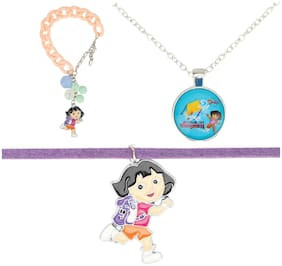 Arendelle Officially Licenced Dora the Explorer Combo of Pendant, Bracelet and Choker in Shades of Purple and Pink with GIFT BOX [DEBOX17]