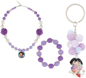 Arendelle Officially Licenced Dora the Explorer Combo of Necklace, Bracelet and Keychain in Shades of Purple with GIFT BOX [DEBOX05]