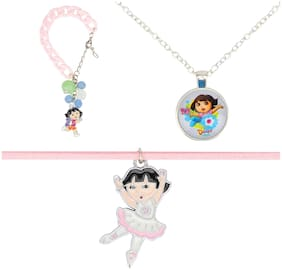 Arendelle Officially Licenced Dora the Explorer Combo of Pendant, Bracelet and Choker in Shades of Pink with GIFT BOX [DEBOX15]