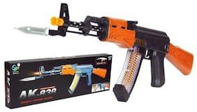 Army Style Combat Gun Toy - AK838 AK 47 Machine Gun - M4-1 Gun Toy with Vibration, Light & Sound - PUBG Musical Toy Gun for Kids