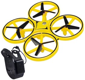 AROHA Drone for Kids;2.4G V2 Gravity Sensor RC Nano Quadcopter with Infrared Obstacle Avoidance;Hand Control Helicopter;Throw to Fly;3D Flips & Cool Light;Boys Girls Gift Toys (Yellow)