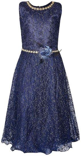 Arshia Fashion Girl's Net Embellished Sleeveless Gown - Blue