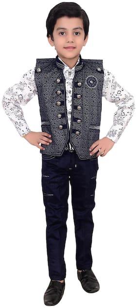 Arshia Fashion Boy Cotton Printed Kurta pyjama set - Grey