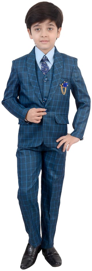 Arshia Fashions Boys Coat Suit with Shirt Pant Tie And Waistcoat