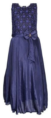 Arshia Fashion Satin Solid Frock - Blue