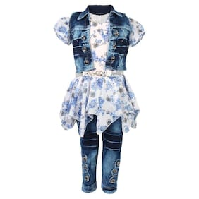 Arshia Fashions Girls Partywear Long Top;Denim Capri and Denim Jacket Set