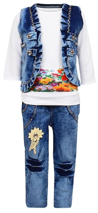 41312994d0e Buy Arshia Fashions Girl Denim Top   Bottom Set - Multi Online at ...