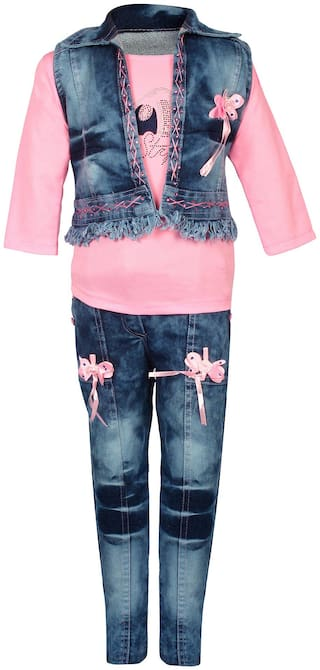 Arshia Fashion Girl Denim Top & Bottom Set - Pink