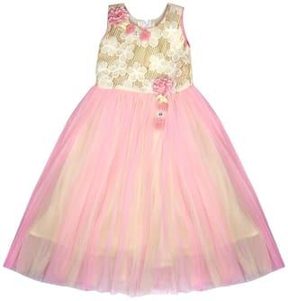 Arshia Fashion Net Printed Frock - Pink