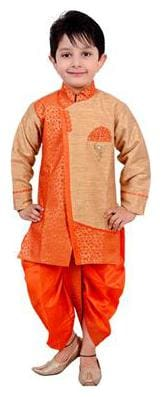 Arshia Fashion Boy Blended Printed Dhoti kurta - Orange